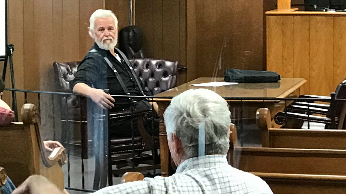 Former Love County Sheriff Joe Russell appears at the defense table in Love County Court on...