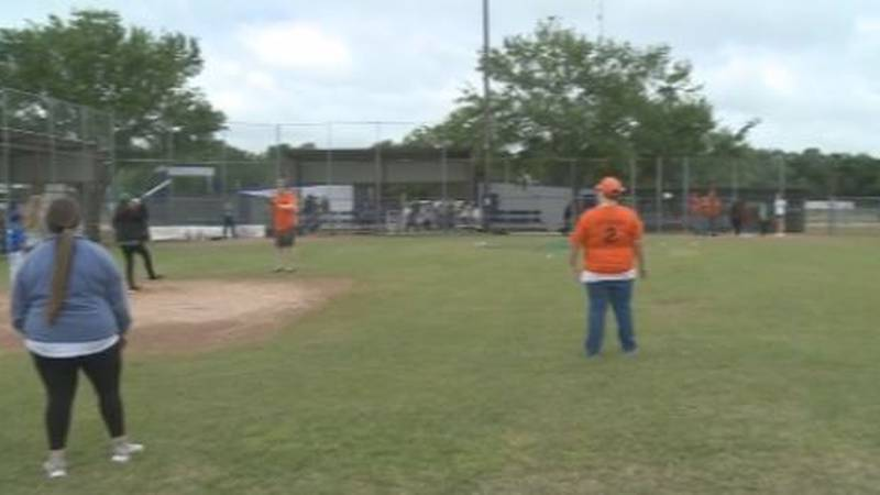 Dozens of kids take part in Buddy Baseball on Saturdays in the spring in Paris, Texas.
