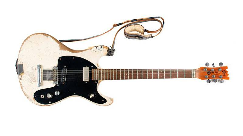 This Aug. 2021 photo provided by Boston-based RR Auction shows a 1965 Mosrite Ventures II...