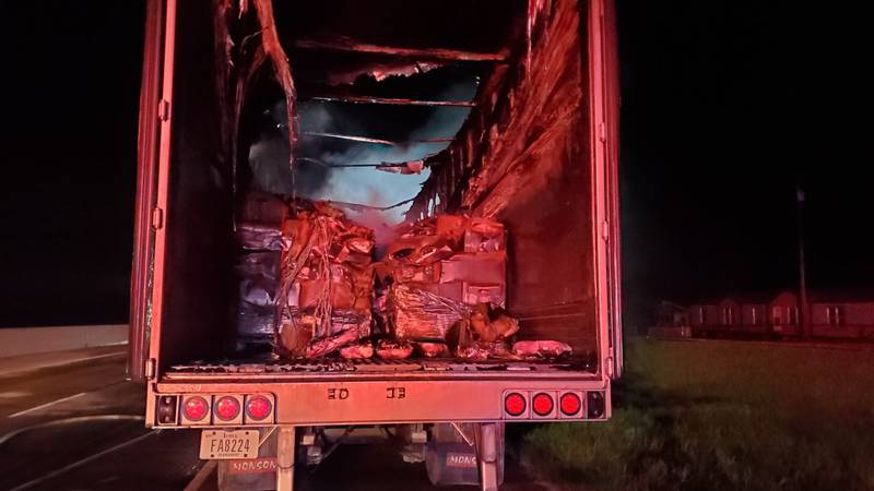 A semi carrying frozen meat caught fire in Howe Monday morning