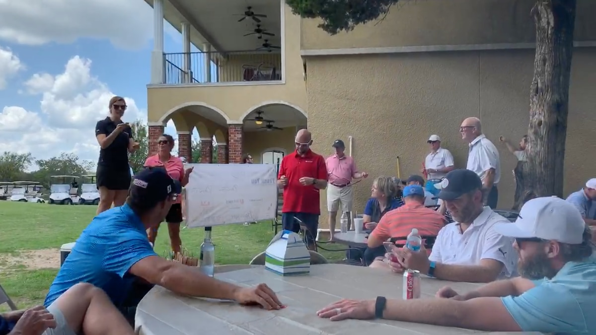 Members of the Denison Rotary Club hit the links Friday morning to raise money for a new...