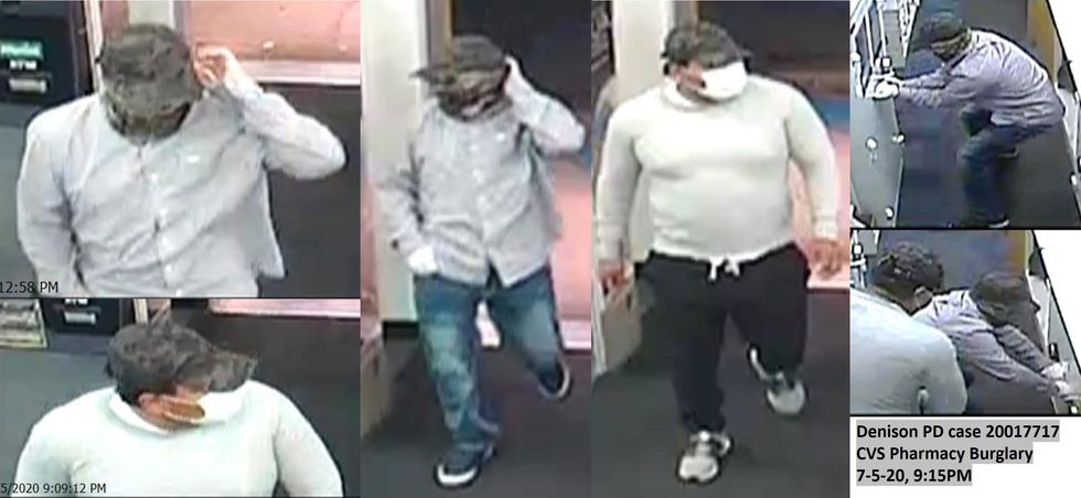 Denison police are searching for suspects in two different pharmacy burglaries.