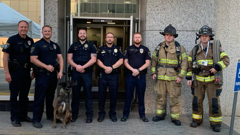 Members of the Ardmore police and fire departments came together to participate in a 9/11 stair...