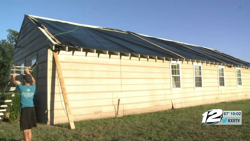 The roof of the Gober Community Center in southeast fannin county was blown off during sunday's...