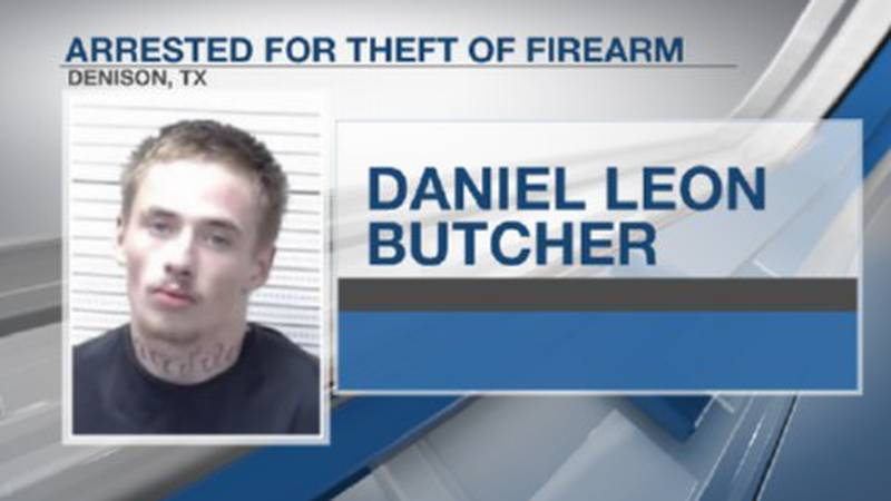 Daniel Leon Butcher was charged with theft of a firearm and other weapons and drug charges.