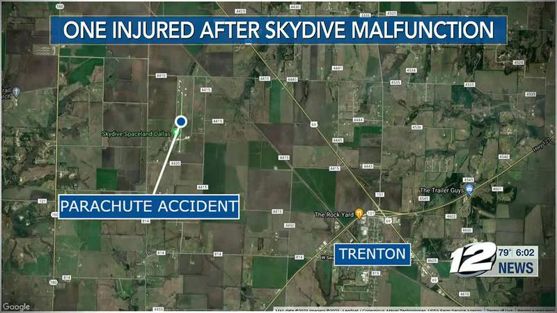 A man is recovering in the hospital after a parachuting accident in Fannin County Friday night.
