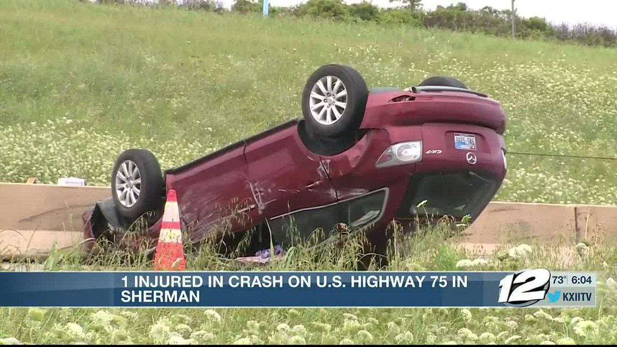 One person taken to hospital after Sherman rollover wreck