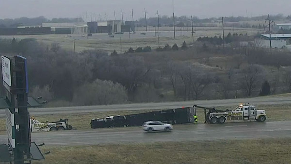 A semi wrecked on Interstate 35 in Ardmore Tuesday morning.