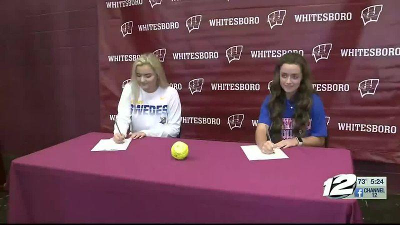 Whitesboro duo sign for college softball
