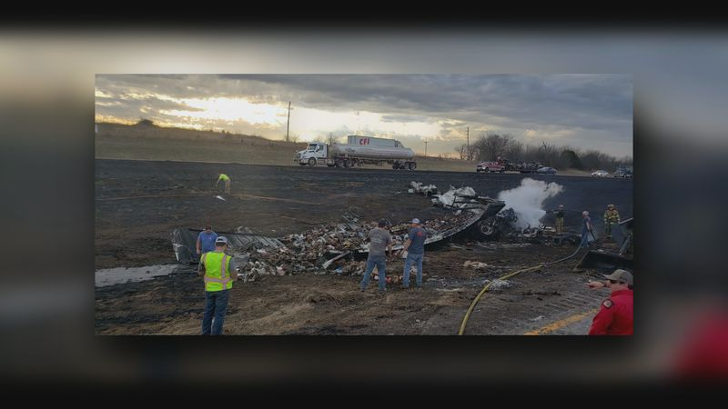 A Semi-trailer truck carrying hazardous material collides with another semi-trailer truck and...