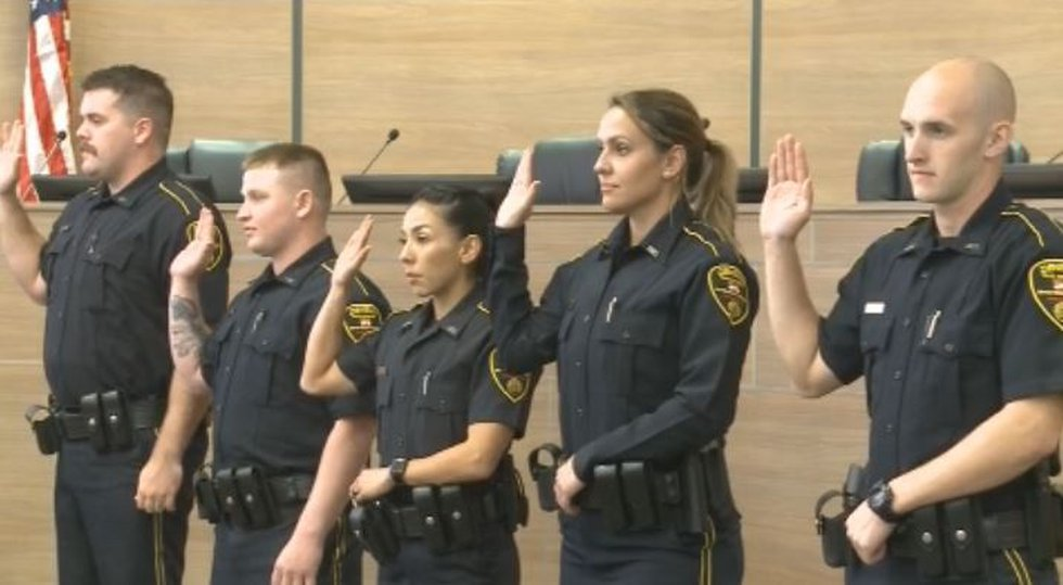 Denison Police Department swears in five new officers
