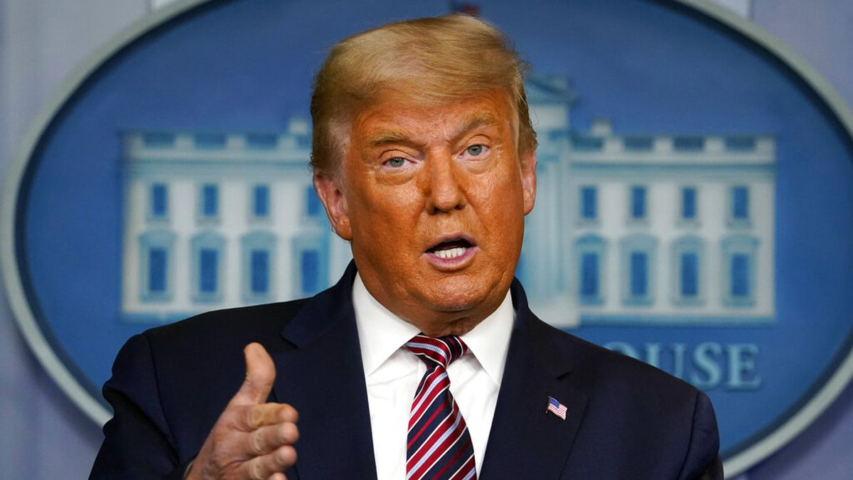 In this Nov. 5, 2020 file photo, President Donald Trump speaks at the White House in Washington.