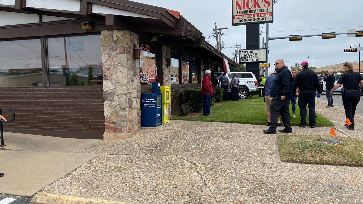 A pickup crashed into Nick's Family Restaurant in downtown Denison Monday morning.