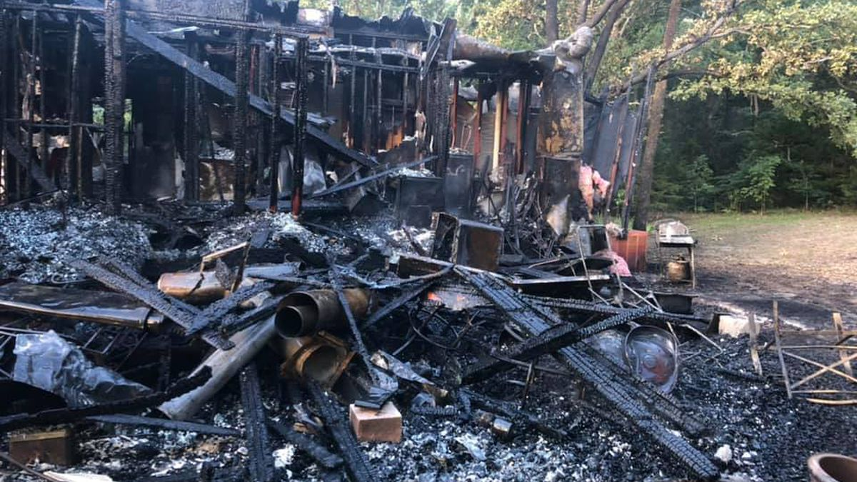 A house has been destroyed after catching fire outside of Pottsboro early Tuesday morning.