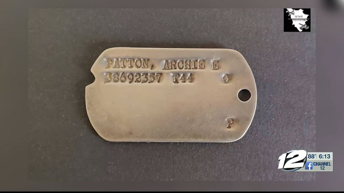 Archie Patton's dog tag