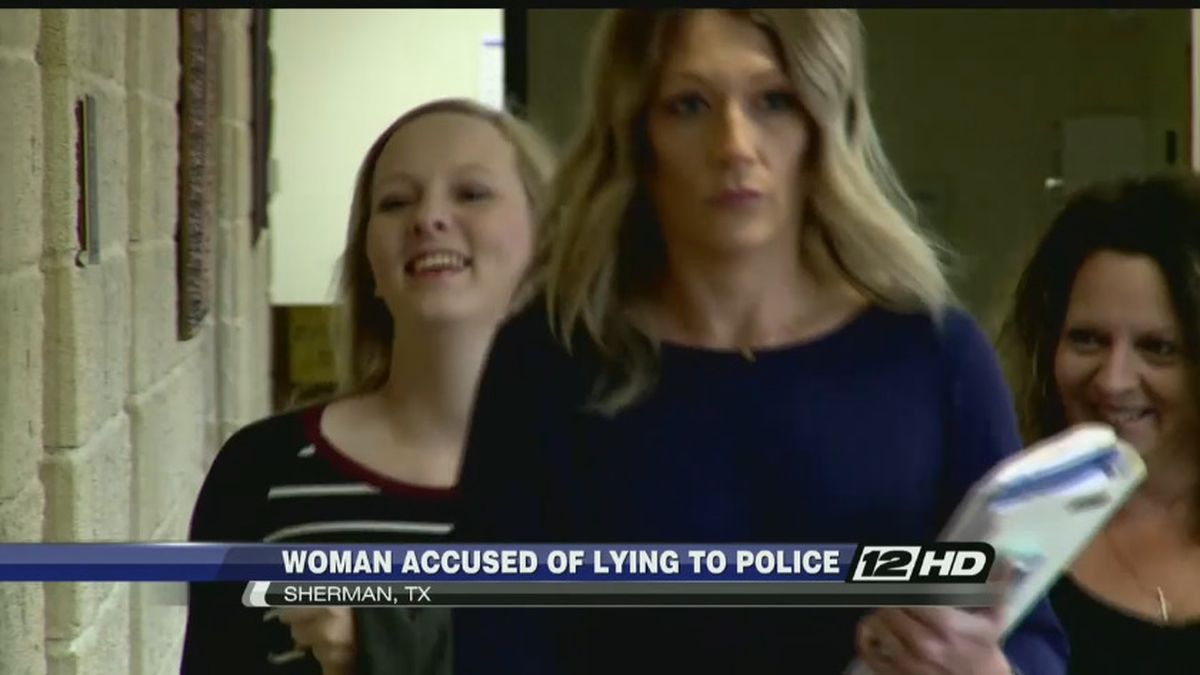 Breana Harmon (left) is accused by Denison Police of tampering with evidence and government...