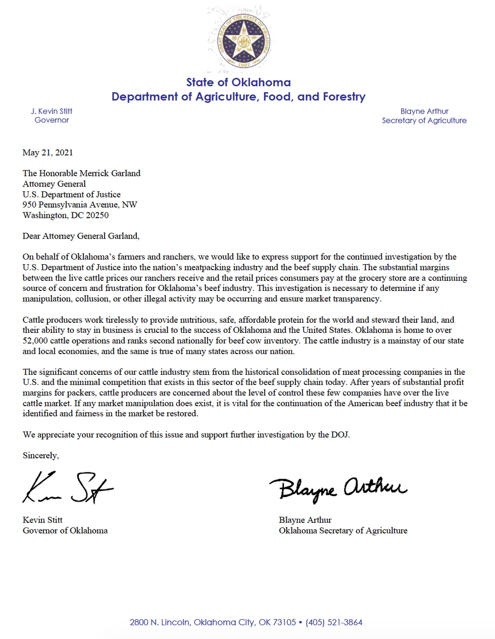 In his letter Governor Stitt defends the agriculture industry, standing up for local farmers...