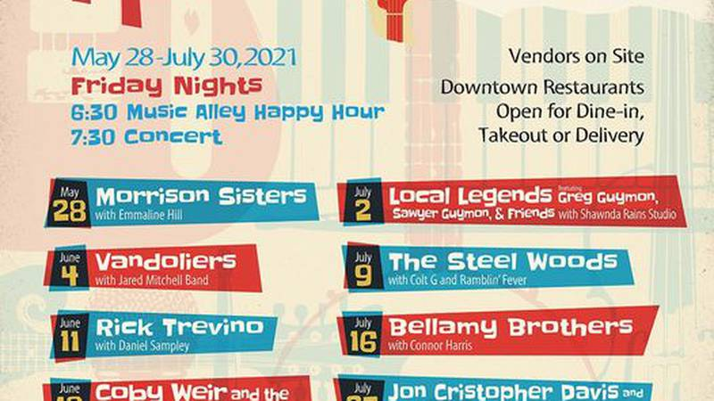 Beginning May 28, Main Street Denison will play host to an outdoor concert every Friday night.
