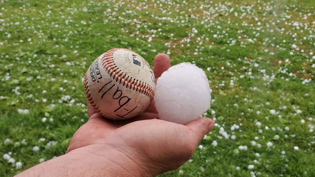 Baseball sized hail in Telephone, TX from Monday night's storms.