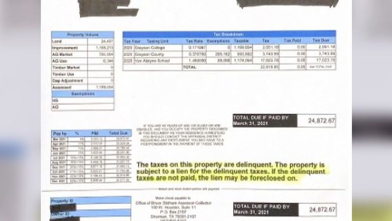 A Grayson County company says they received a delinquency notice even though their property...