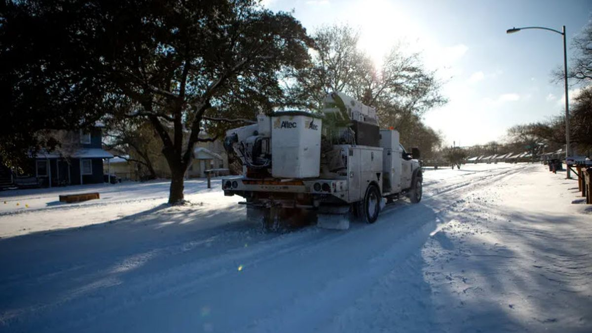An Austin Energy truck in Austin after a winter snowstorm hit Texas on Feb. 15, 2021.