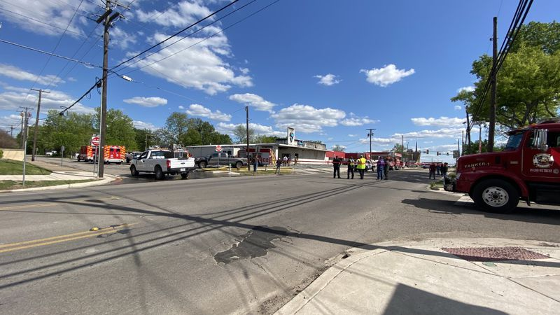 A fire in Bonham led to the closure of two streets.
