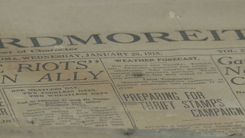 An Ardmore history buff found century-old newspapers after prying up the floorboards of her...