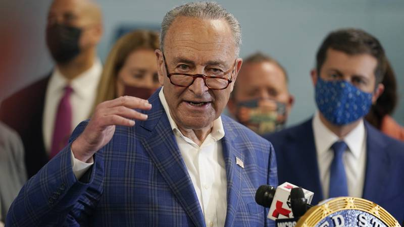 FILE - New York Sen. Chuck Schumer speaks during a news conference in New York, Monday, June...