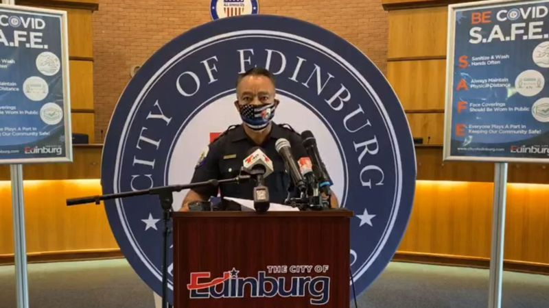 Edinburg Police Chief Caesar Torres announces the deaths of four family members during a...
