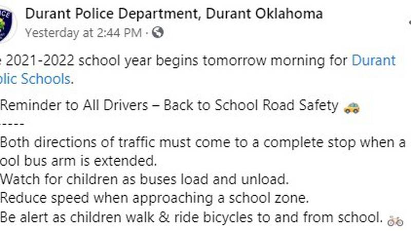 Texoma officers remind drivers of school zone procedures as back to school starts up for...