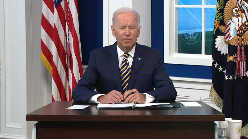 President Joe Biden hosted a virtual session with a small group of other global leaders to try...