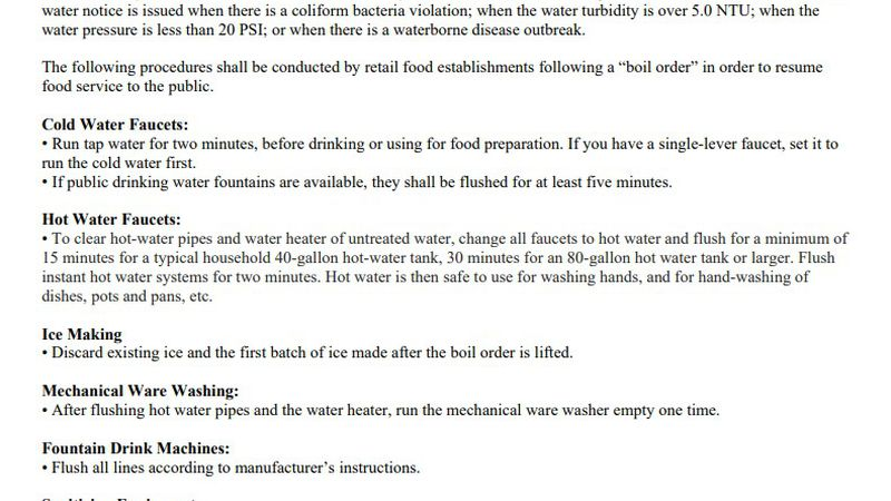 Grayson County under boiling water notice to not have restaurants serve and prepare food