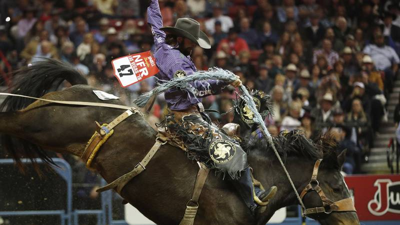 Wade Sundell, of Boxholm, Iowa, competes in the saddle bronc riding event during the seventh...