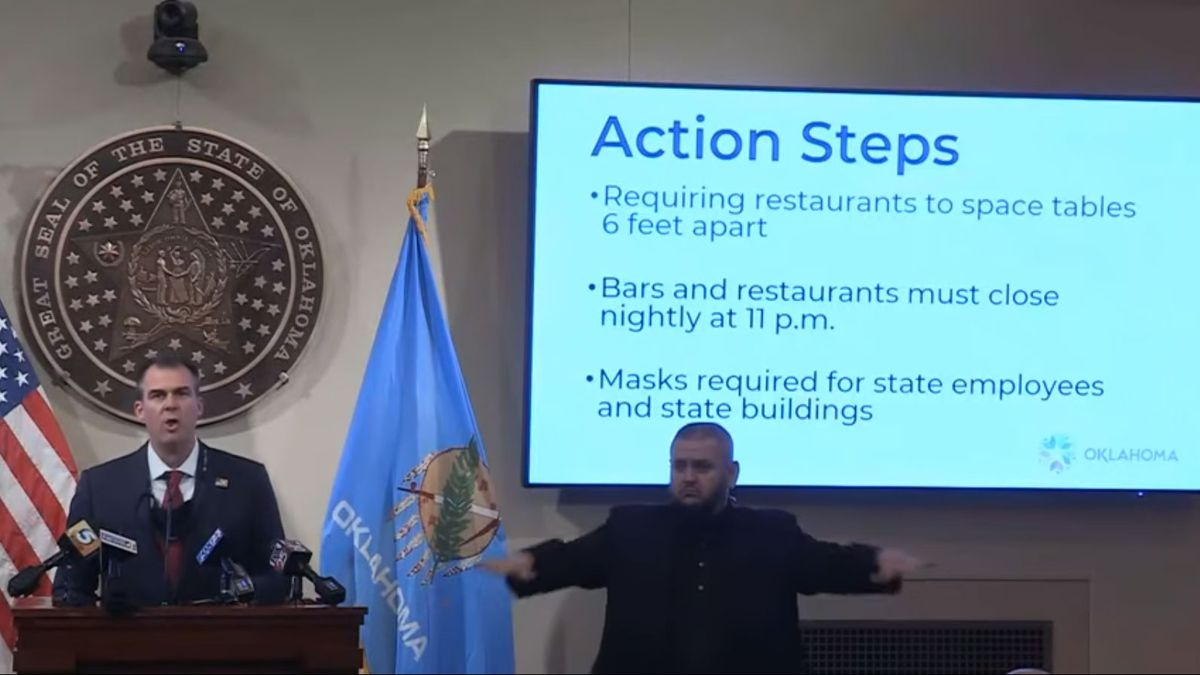 Gov. Kevin Stitt announces new measures aimed at slowing the spread of COVID-19 in Oklahoma at...