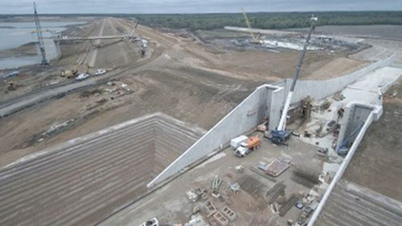 Work is nearing completion on the Bois d'Arc Reservoir in Fannin County. (Source: KXII Staff)