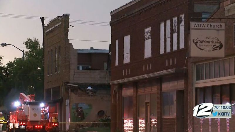 High winds damaged a vacant building in downtown Ardmore Thursday, July 30, 2020.