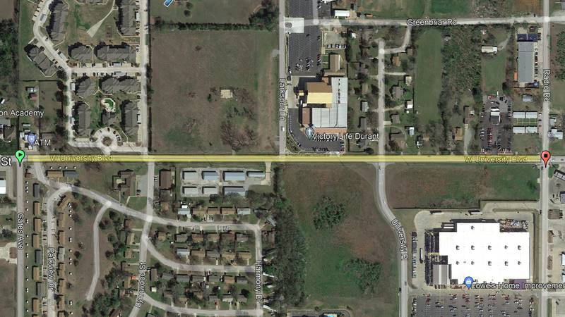 City of Durant warns drivers of new construction on University Boulevard in a little more than...