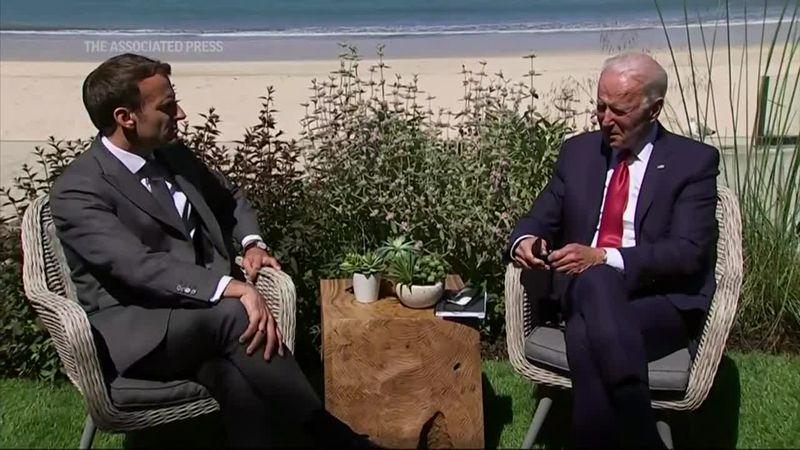 U.S. President Joe Biden on Saturday met with French President Emmanuel Macron on the sidelines...