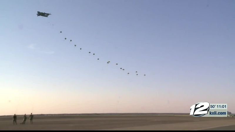 Members of the 143rd Infantry regiment of the Texas National Guard held an airborne training...