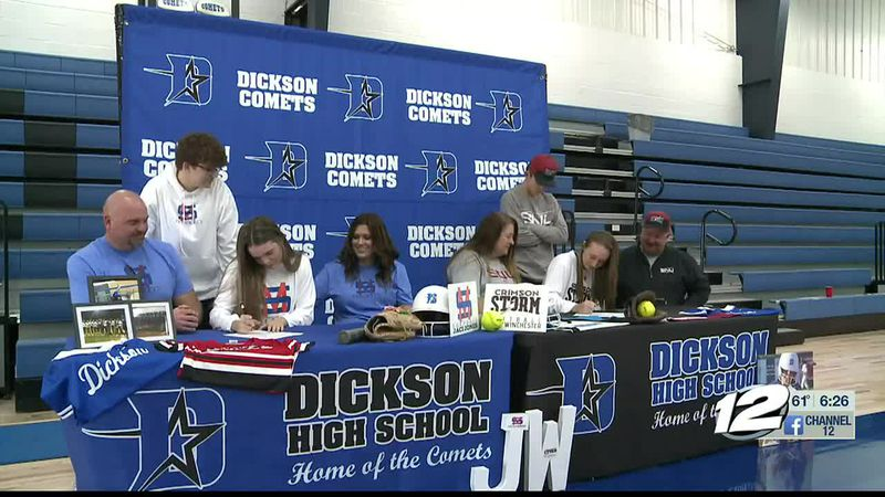 Dickson softball duo sign with colleges