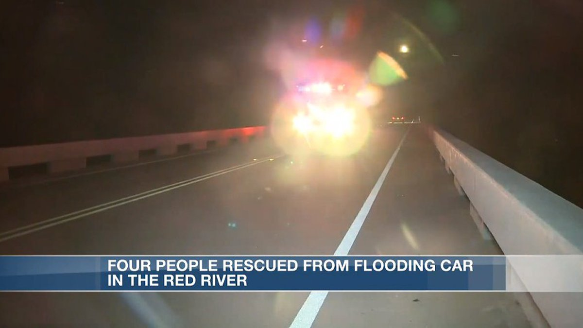 Four people had to be rescued from an island in the Red River near the Carpenters Bluff Bridge...