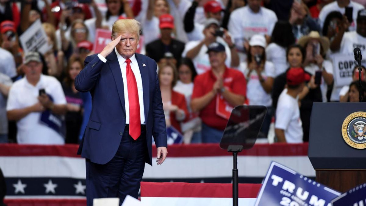 President Donald Trump salutes the front row after speaking at a campaign rally, Thursday, Oct. 17, 2019, at the American Airlines Center in Dallas. | Photo Source: AP Photo / Jeffrey McWhorter