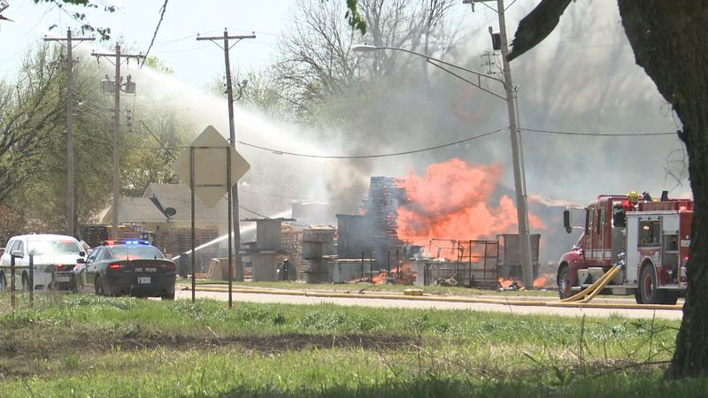 A fire around noon left a family without a home and destroyed a business along Highway 77.