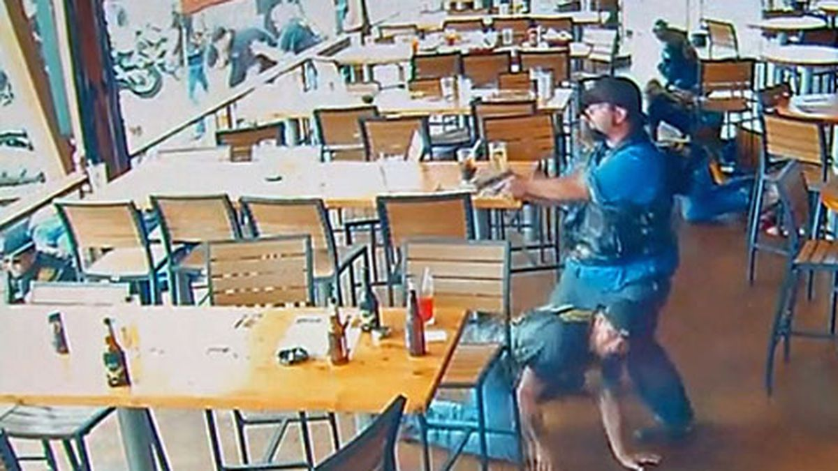 A frame grab of video from a surveillance camera on the patio of the restaurant obtained by...