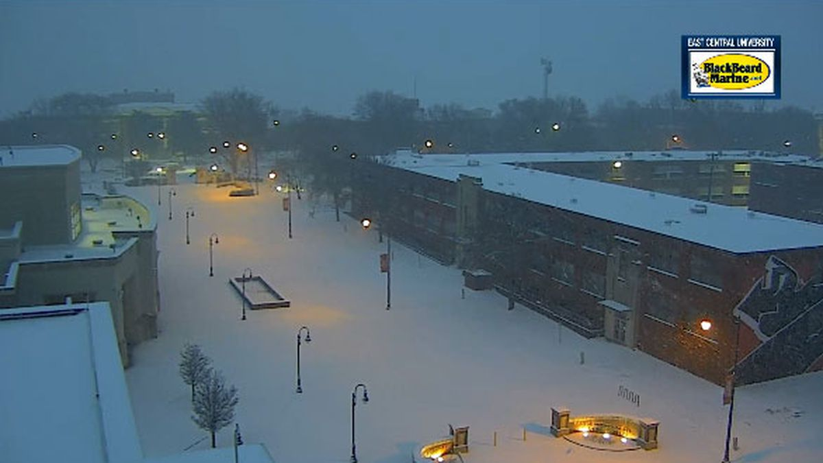 Snow blanketed the East Central University campus in Ada Wednesday morning (KXII).